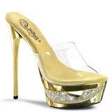 Złoto Przeźroczysty 16,5 cm Pleaser ECLIPSE-601DM Platformie Klapki