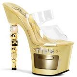 Złoto Przeźroczysty 18 cm Pleaser DICE-702-2 Platformie Klapki