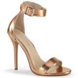 złota róża 13 cm Pleaser AMUSE-10 Wysokie sandały na szpilce